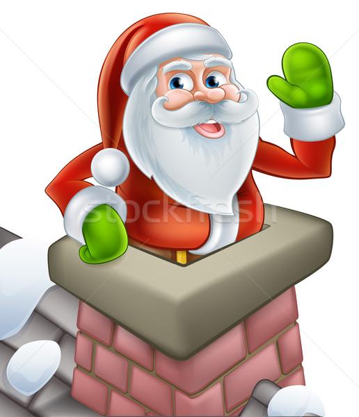 Święty mikołaj komin christmas cartoon na zewnątrz Zdjęcia stock © Krisdog