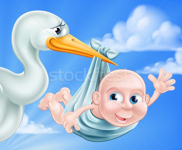 Cegonha bebê ilustração desenho animado recém-nascido clássico Foto stock © Krisdog