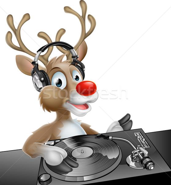 Karácsony rénszarvas illusztráció aranyos rajz zene Stock fotó © Krisdog
