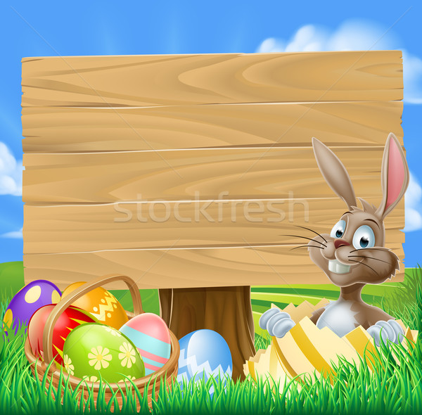 Easter Bunny ei jacht teken cartoon mand Stockfoto © Krisdog