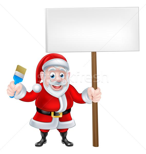 Cartoon Santa Holding Paintbrush and Sign Stock photo © Krisdog