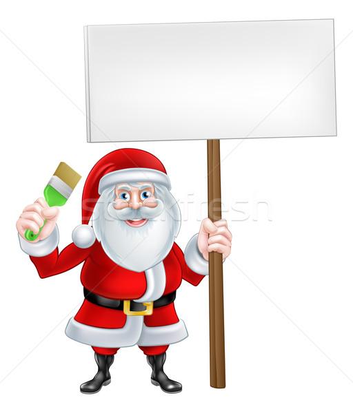 Paintbrush Sign Santa Stock photo © Krisdog