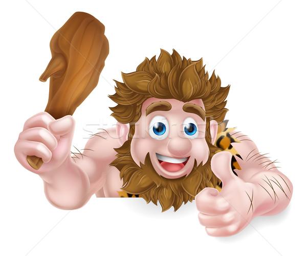 Cartoon Caveman Thumbs Up Sign Stock photo © Krisdog
