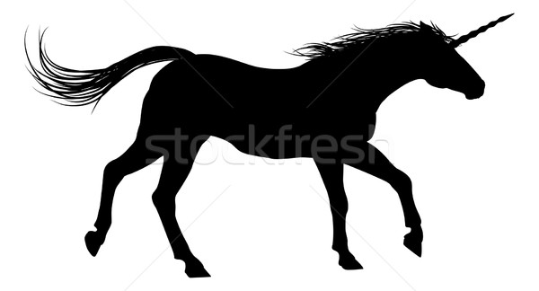 Running Unicorn Silhouette Stock photo © Krisdog