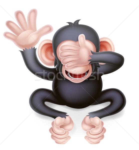 Cartoon See No Evil Monkey Stock photo © Krisdog