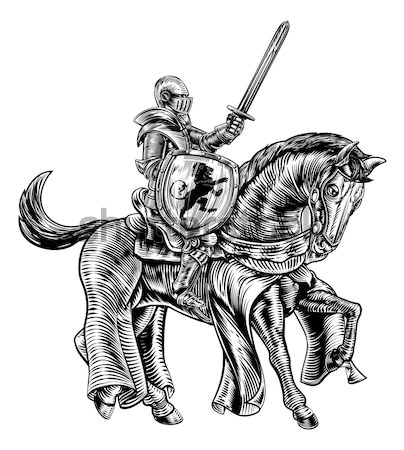 Stock photo: Sword and Shield Knight on Horse