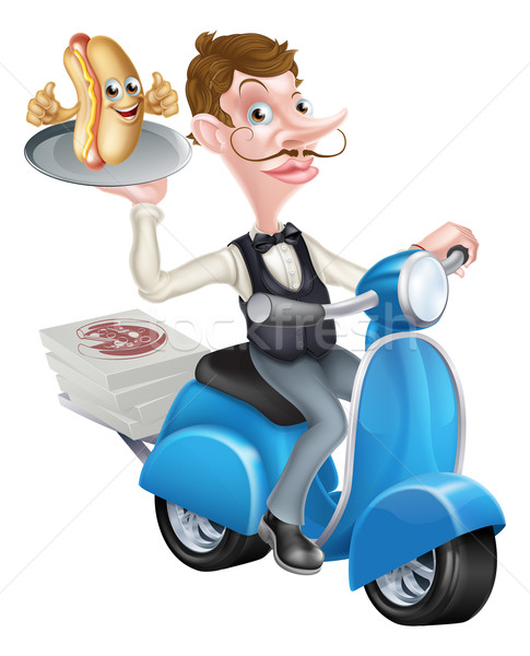 Cartoon Butler on Scooter Moped Delivering Hot Dog Stock photo © Krisdog
