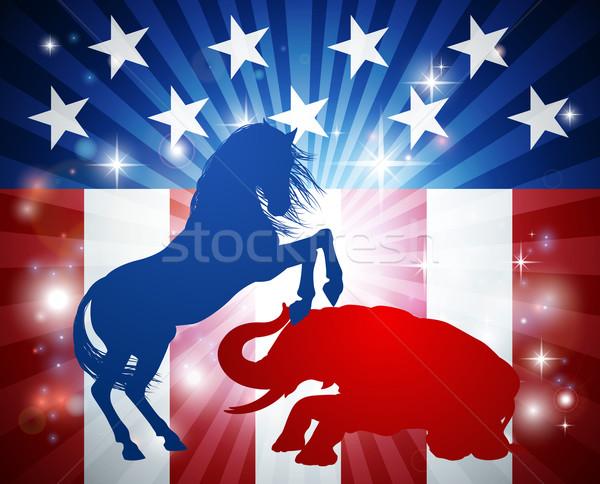 Amerykański wyborów demokrata osioł republikański słoń Zdjęcia stock © Krisdog
