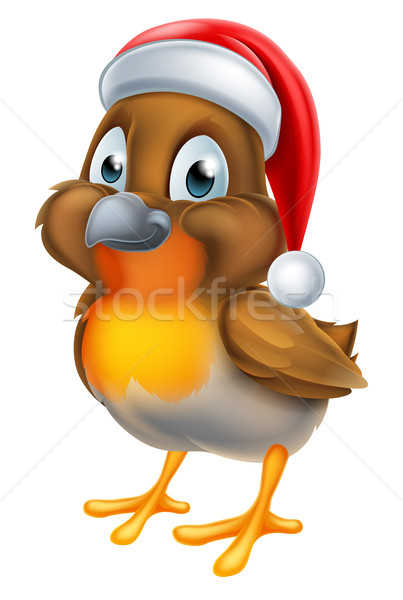 Robin Christmas Bird Cartoon Stock photo © Krisdog