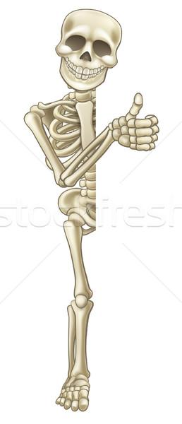 Thumbs Up Cartoon Halloween Sign Skeleton  Stock photo © Krisdog