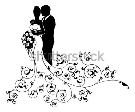 Abstract Wedding Pattern Bride and Groom Silhouette Stock photo © Krisdog