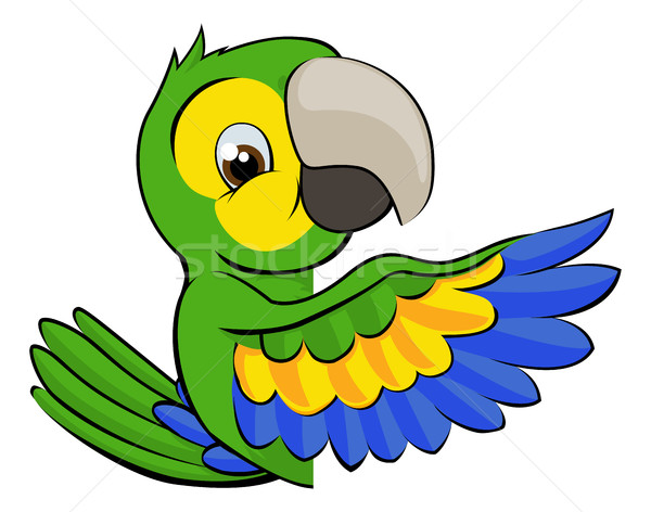 Cartoon Parrot Pointing Around Sign Stock photo © Krisdog