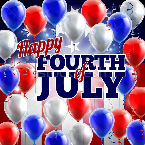 Negyedik amerikai zászló léggömbök kék buli boldog Stock fotó © Krisdog