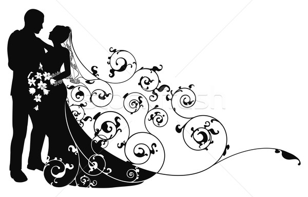 Stock photo: Bride and groom background pattern silhouette