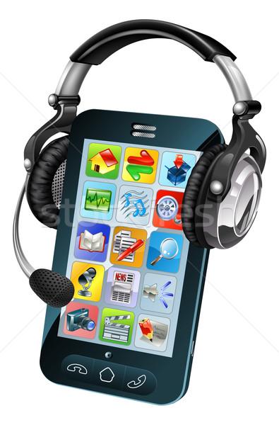 携帯電話 チャット 実例 テレフォニー ヘッド 電話 ストックフォト © Krisdog