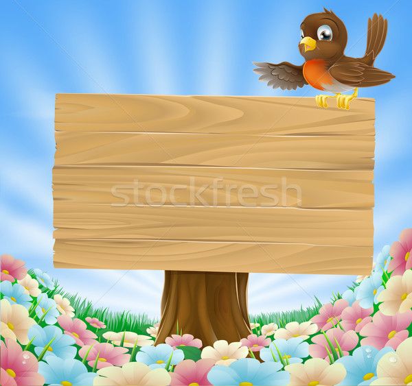 Stockfoto: Rustiek · teken · illustratie · vogel · hout · land