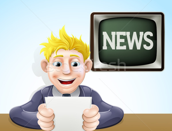 News reader cartoon Stock photo © Krisdog