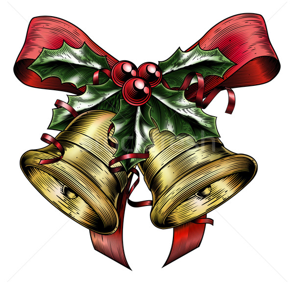 Vintage Etching Christmas Holly Bow Stock photo © Krisdog