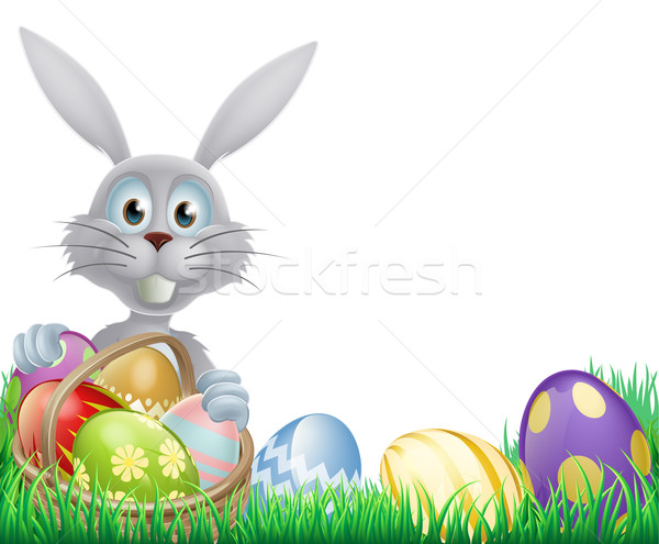 White Easter bunny and eggs Stock photo © Krisdog