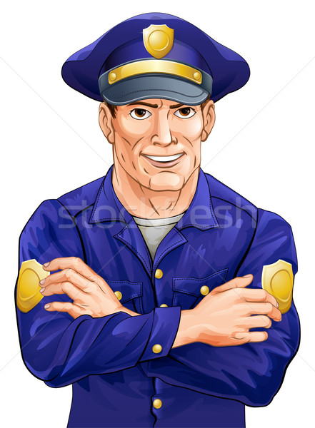 Szczęśliwy policjant ilustracja przystojny komisarz broni Zdjęcia stock © Krisdog