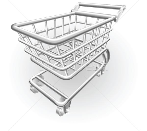 Stockfoto: Zilver · metalen · illustratie · winkelwagen · object · winkelwagen