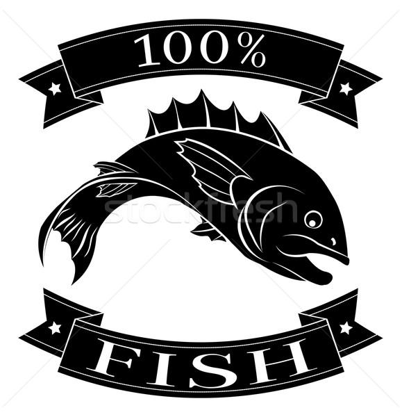 Stockfoto: 100 · procent · vis · voedsel · label · lezing