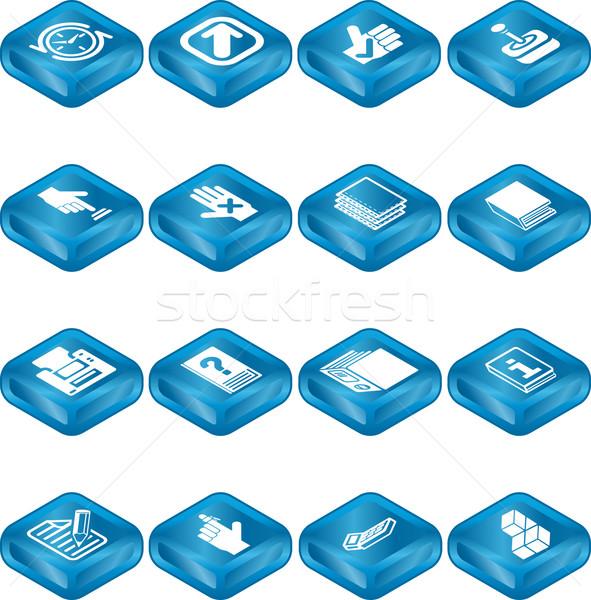 Stock fotó: Applikációk · ikon · gyűjtemény · számítógép · könyv · ceruza · kék