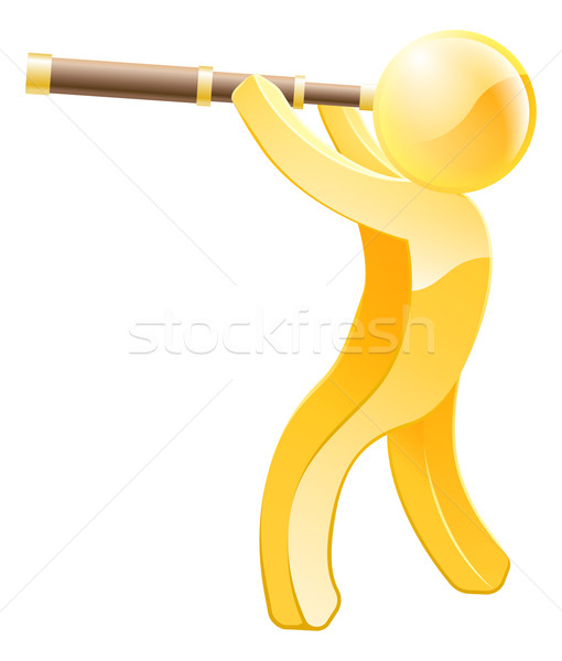 Telescope gold person Stock photo © Krisdog