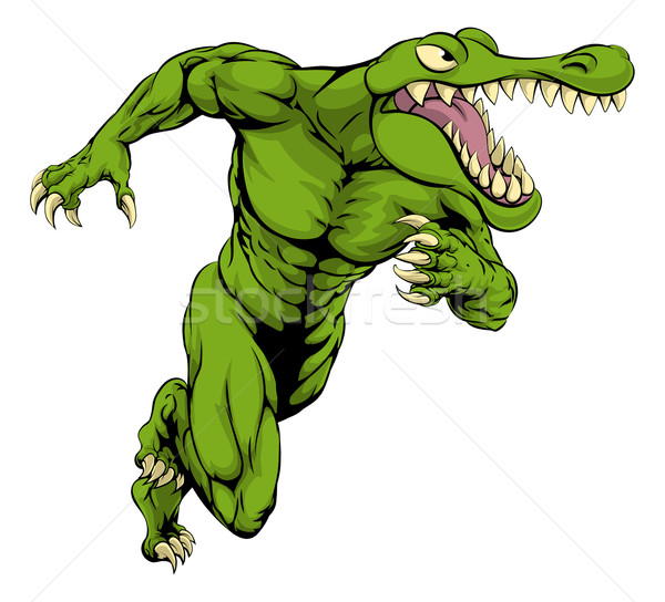 крокодила аллигатор талисман работает Cartoon Scary Сток-фото © Krisdog