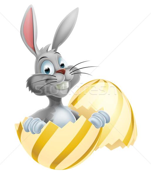 Fehér húsvéti nyuszi tojás illusztráció boldog aranyos Stock fotó © Krisdog