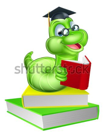 Cute cartoon rups worm glimlachend groene Stockfoto © Krisdog