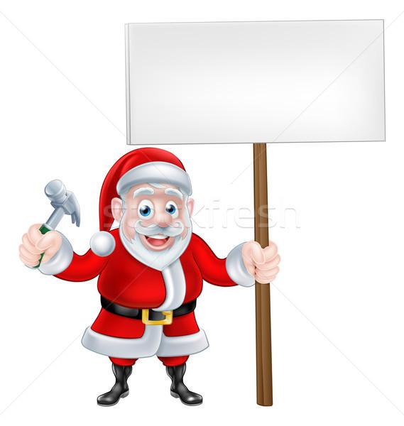 Сток-фото: Cartoon · молота · знак · Рождества