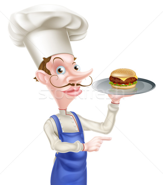 Hamburger szakács mutat illusztráció rajz tart Stock fotó © Krisdog