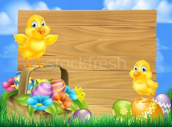 Chicks and Easter Eggs Basket Sign Stock photo © Krisdog