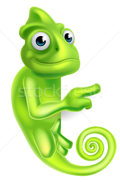 Wijzend cartoon kameleon groene hagedis karakter Stockfoto © Krisdog