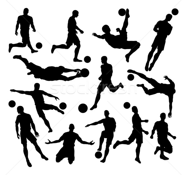Soccer Football Player Silhouettes Stock photo © Krisdog