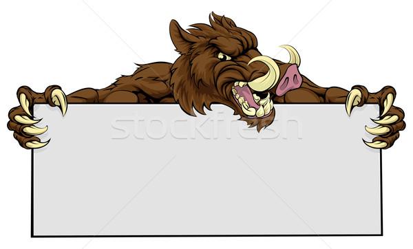 Boar Mascot Sign Stock photo © Krisdog