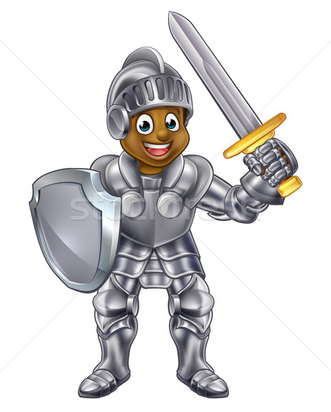 Stockfoto: Cartoon · jongen · ridder · jonge · zwarte · pak