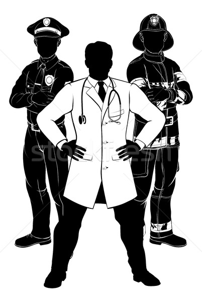 Emergency Workers Team Silhouettes Stock photo © Krisdog