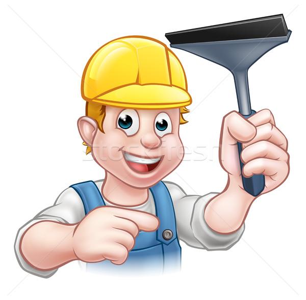 Foto stock: Limpador · de · janelas · handyman · negócio · carro
