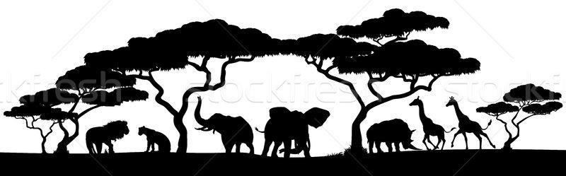 Silhouette African Safari Animal Landscape Scene Stock photo © Krisdog