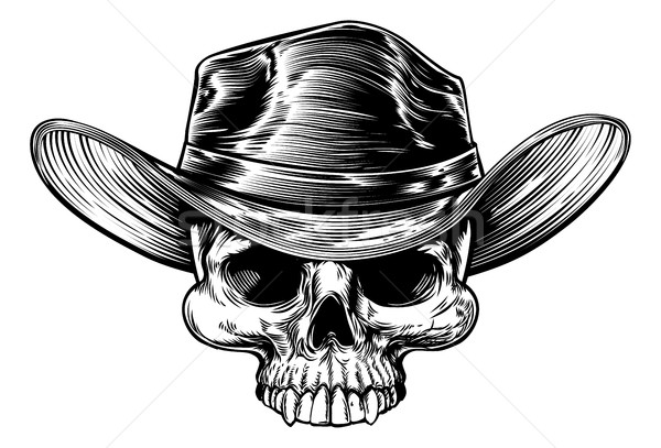 Cowboy Skull Hat Drawing Stock photo © Krisdog