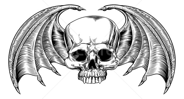 Grim Reaper Winged Skull Stock photo © Krisdog