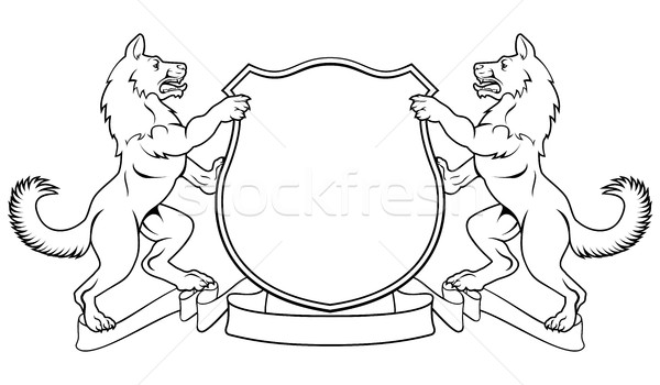 Dogs Crest Coat of Arms Heraldic Shield Stock photo © Krisdog