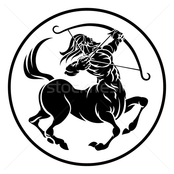 Zodiac horoscope signe cercle archer astrologie Photo stock © Krisdog