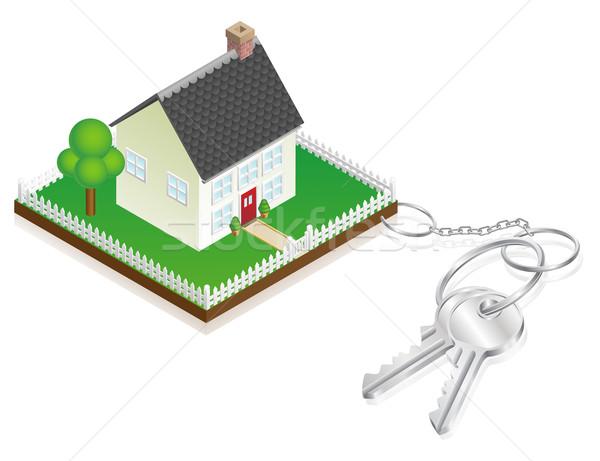 House attached to keys as keyring Stock photo © Krisdog