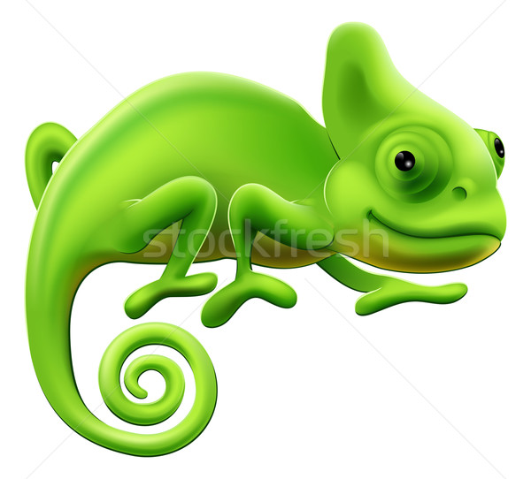 Cute caméléon illustration vert cartoon lézard Photo stock © Krisdog