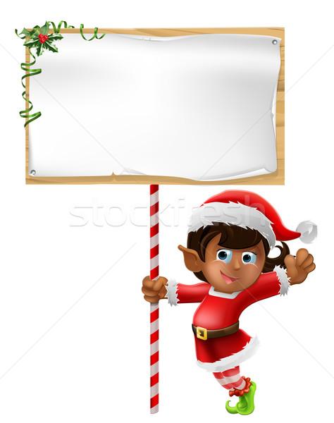 Christmas elf teken cartoon vrouw Stockfoto © Krisdog
