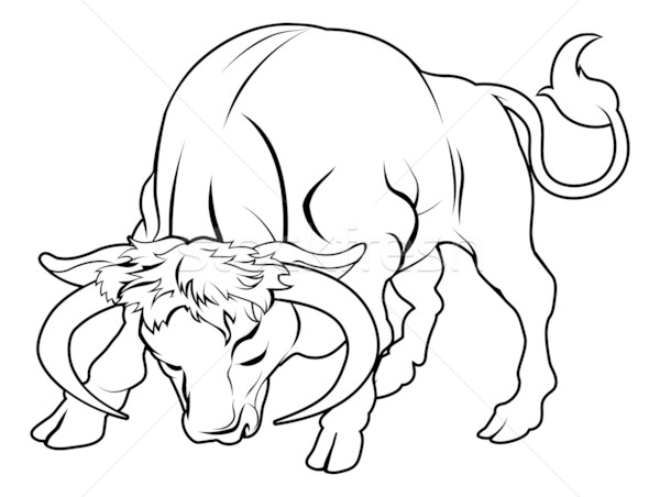Stylised bull illustration Stock photo © Krisdog