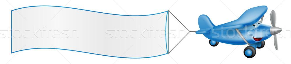 Cartoon plane mascot towing banner Stock photo © Krisdog